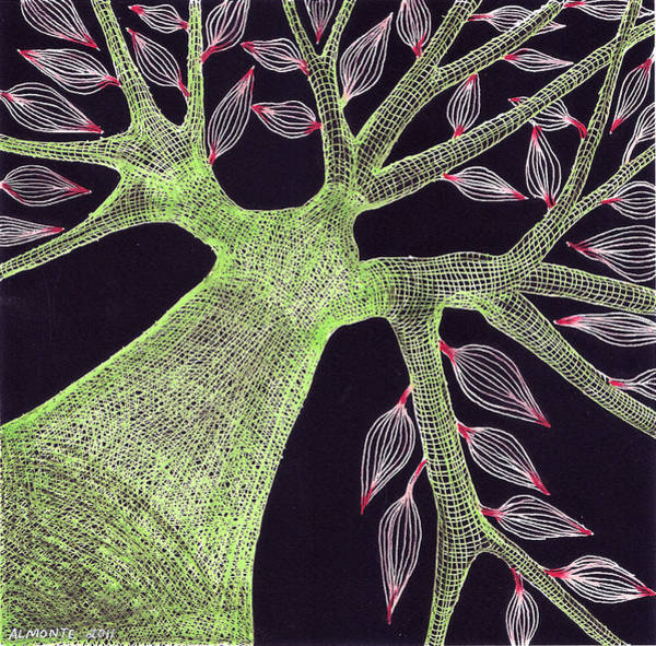 Organic Garden Drawing - Green Tree With Red Leaves by Larry Almonte