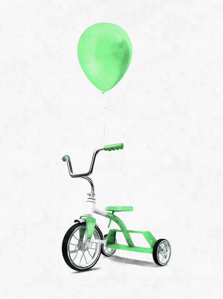 Wall Art - Digital Art - Green Tricycle And Balloon by Edward Fielding
