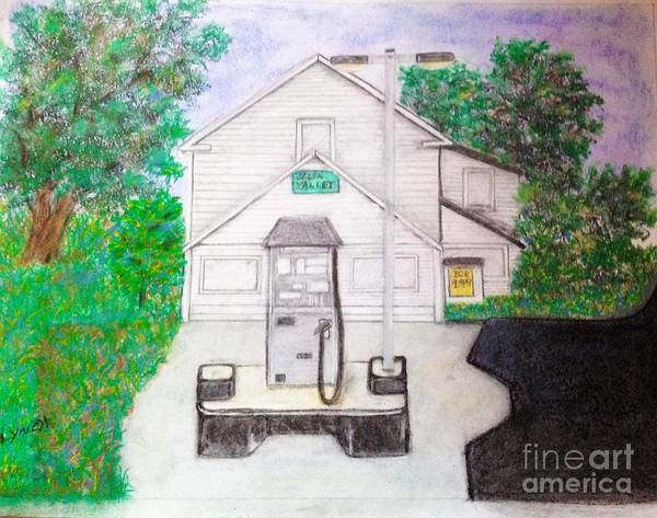 Pump Drawing - Green Valley Grocery by Debra Lynch