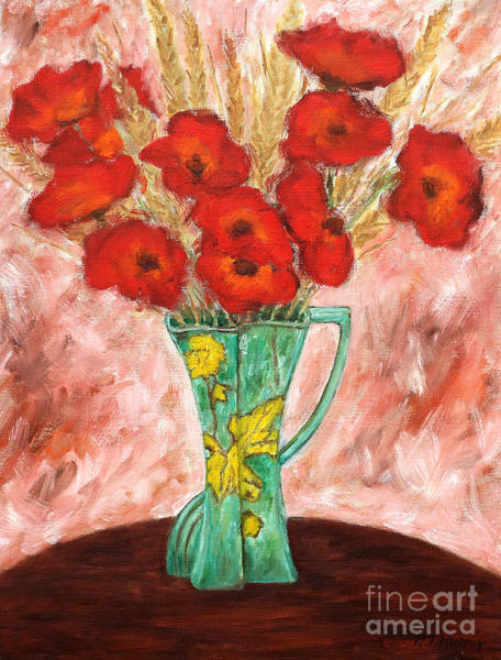 Floral Shower Curtain Painting - Green Vase And Poppies by Patrick J Murphy