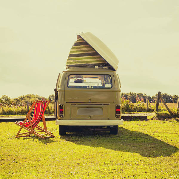 Volkswagen Camper Photograph - Green Vw T2 Camper Van Rear View by Richard Nixon