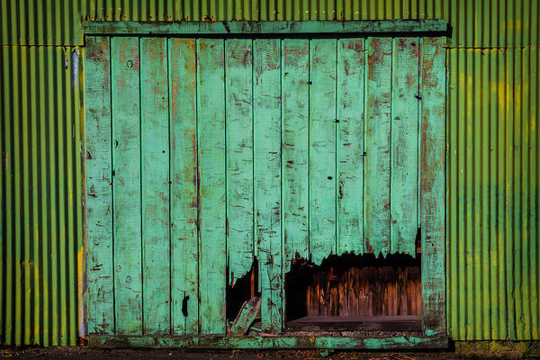 Warehouse Photograph - Green Warehouse Door by Garry Gay