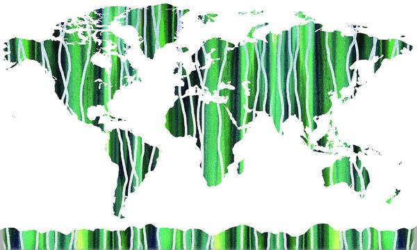 Painting - Green Watercolor Map Of The World by Irina Sztukowski