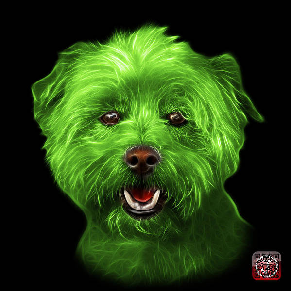 Mixed Media - Green West Highland Terrier Mix - 8674 - Bb by James Ahn