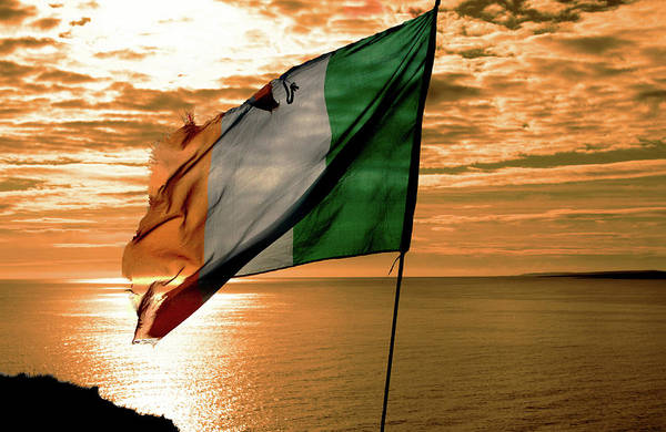 Gaelic Photograph - Flag Of Ireland At The Cliffs Of Moher by Aidan Moran