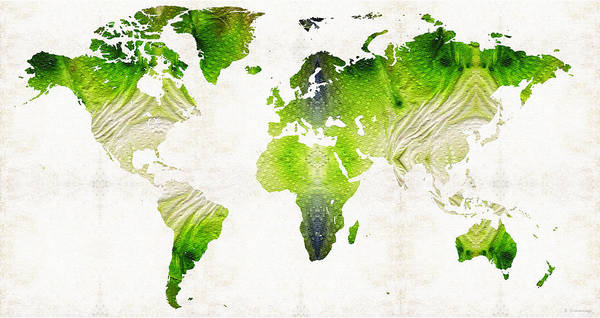 Wall Art - Painting - Green World Map Art - Sharon Cummings by Sharon Cummings