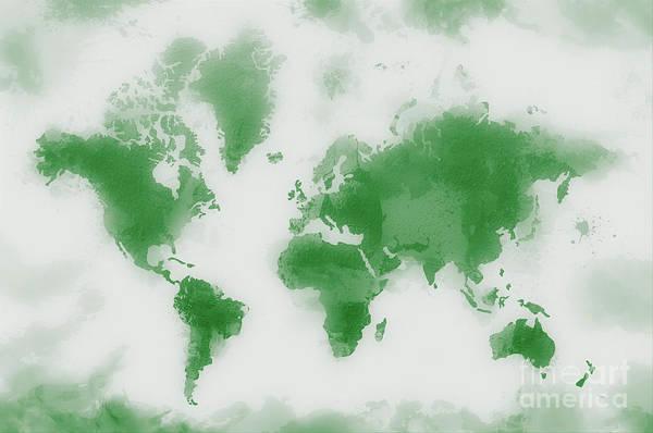 New Trend Digital Art - Green World Map by Zaira Dzhaubaeva