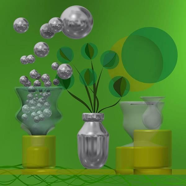 Digital Art - Greenish Still Life With Balls by Alberto RuiZ