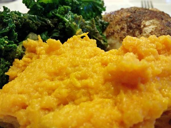 Photograph - Greens, Mash Sweet Potatoes, And Crock Pot Rotisserie Chicken  by Robert Knight
