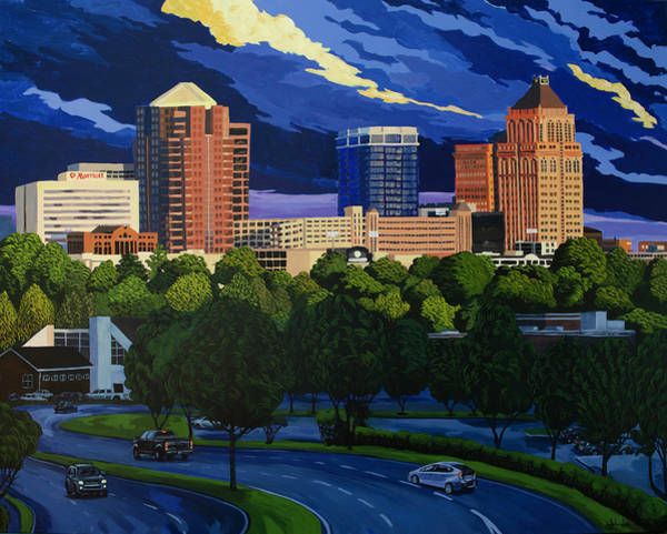 Painting - Greensboro Skyline In The Sunshine by John Gibbs