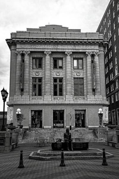 Photograph - Greenville County Courthouse In Black And White by Carol Montoya