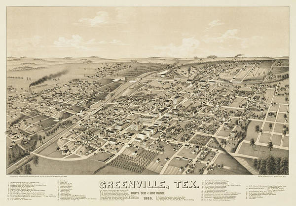 Wall Art - Painting - Greenville, Tex. County Seat Of Hunt County. 1886 by Henry Wellge