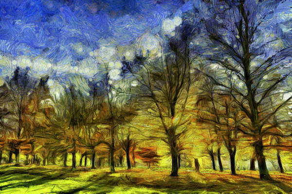 Wall Art - Mixed Media - Greenwich Park London Art Van Gogh by David Pyatt
