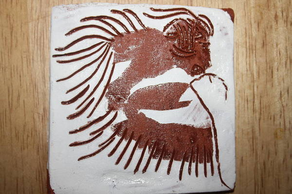 Ceramic Art - Greeting 6 - Tile by Gloria Ssali