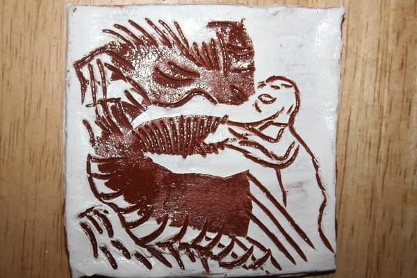 Ceramic Art - Greeting 9 - Tile by Gloria Ssali