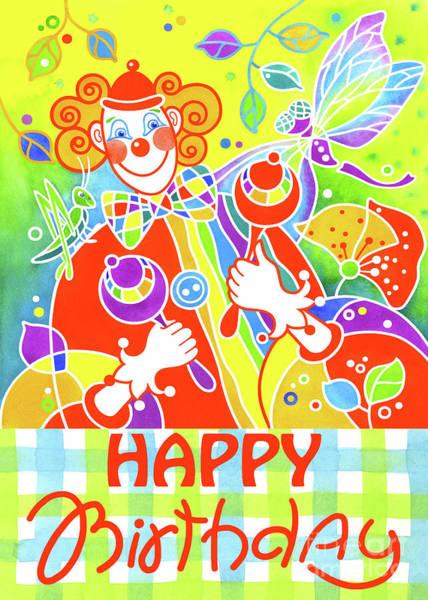 Musical Theme Painting - Greeting Card Musical Clown 7 by Svetlana Titarenko