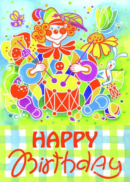 Musical Theme Painting - Greeting Card Musical Clown 8 by Svetlana Titarenko