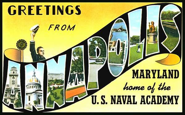 Photograph - Greetings From Annapolis Maryland by Vintage Collections Cites and States