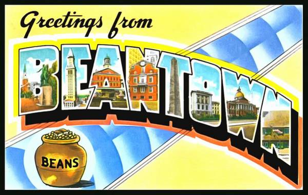 Photograph - Greetings From Beantown Boston Massachusetts by Vintage Collections Cites and States