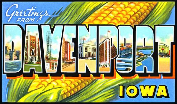 Photograph - Greetings From Davenport Iowa by Vintage Collections Cites and States