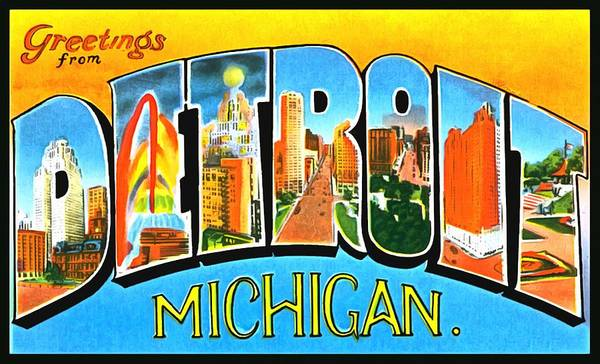 Photograph - Greetings From Detroit Michigan by Vintage Collections Cites and States