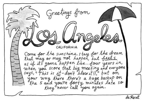 Late Drawing - Greetings From Los Angeles by Olivia de Recat
