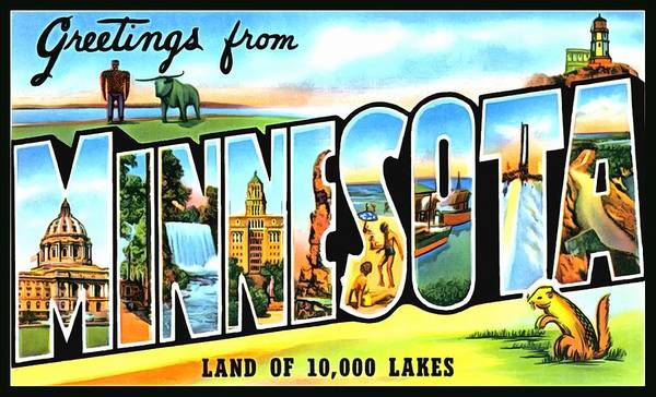Photograph - Greetings From Minnesota Land Of 10000 Lakes by Vintage Collections Cites and States