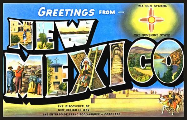 Photograph - Greetings From New Nexico by Vintage Collections Cites and States