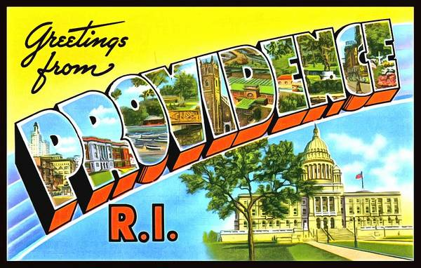 Photograph - Greetings From Providence Rhode Island by Vintage Collections Cites and States