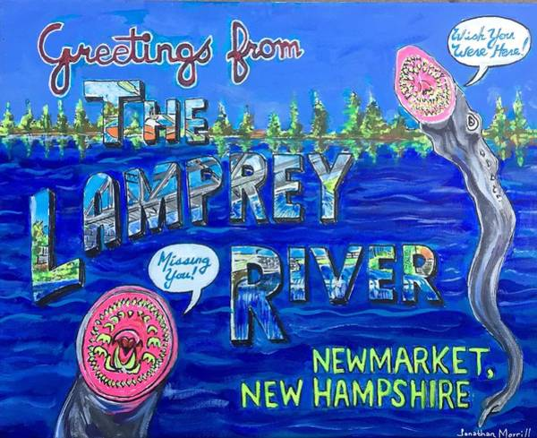 New Hampshire Painting - Greetings From The Lamprey River by Jonathan Morrill