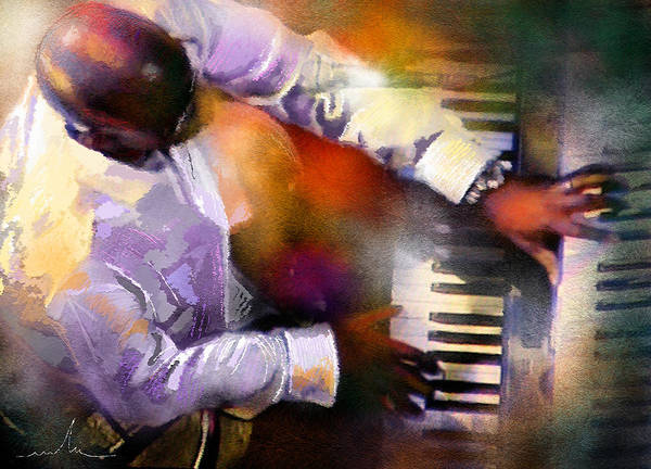 Piano Player Painting - Greg Phillinganes From Toto by Miki De Goodaboom