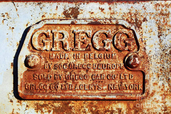 Photograph - Gregg Nameplate On Railway Coach Chassis by James Brunker