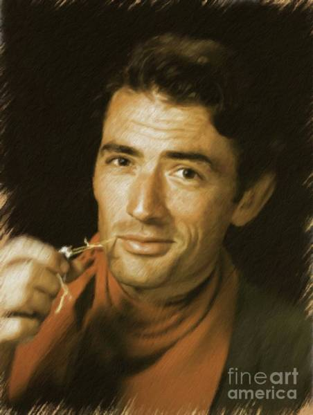 Peck Wall Art - Painting - Gregory Peck, Vintage Actor by Mary Bassett