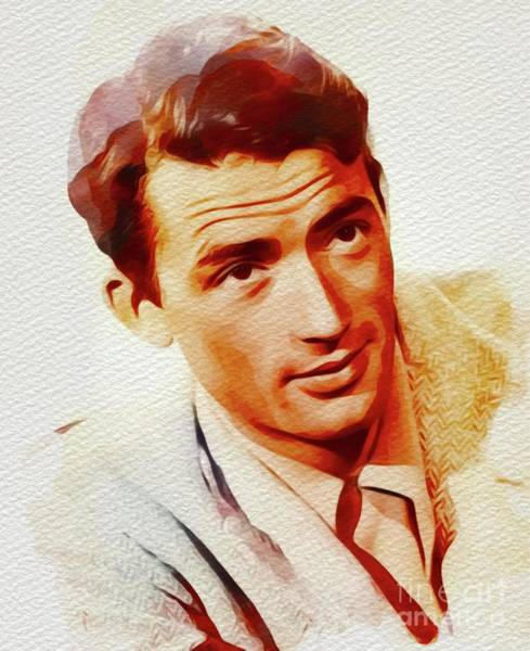 Peck Wall Art - Painting - Gregory Peck, Vintage Movie Star by John Springfield
