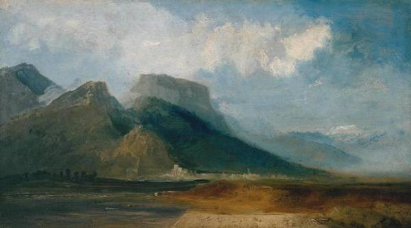 Wall Art - Painting -   Grenoble Seen From The River Drac With Mont Blanc In The Distance by Joseph Mallord William