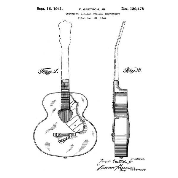 Photograph - Gretsch Guitar 1941 Patent by Bill Cannon