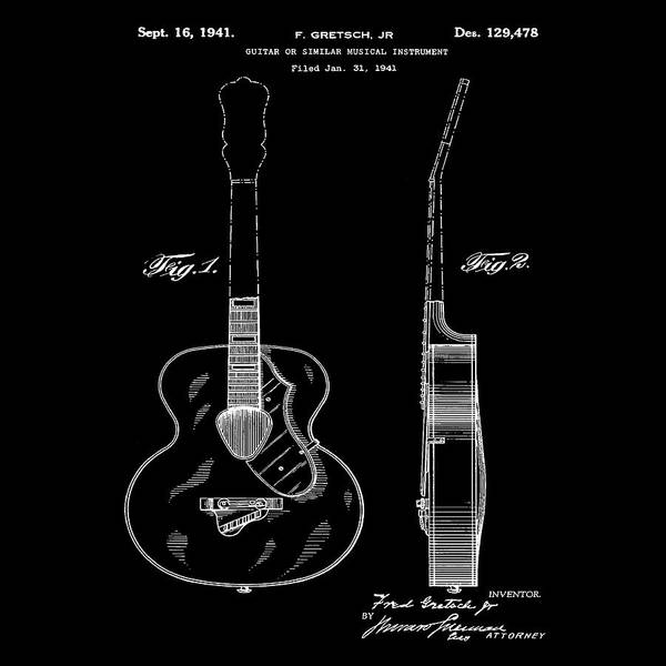 Photograph - Gretsch Guitar 1941 Patent In Black by Bill Cannon