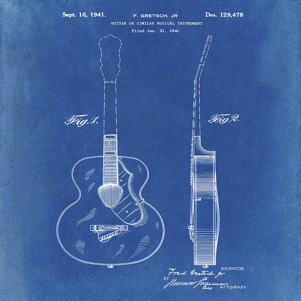 Photograph - Gretsch Guitar 1941 Patent In Blue by Bill Cannon