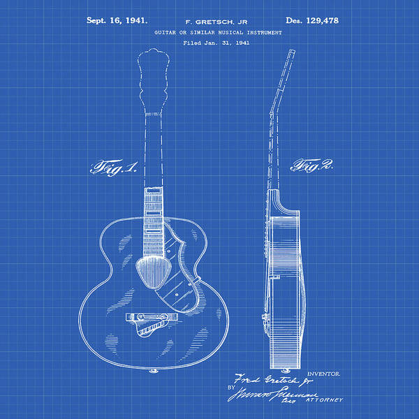 Photograph - Gretsch Guitar 1941 Patent In Blueprint by Bill Cannon