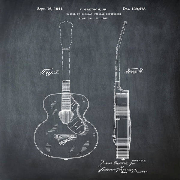 Photograph - Gretsch Guitar 1941 Patent In Chalk by Bill Cannon