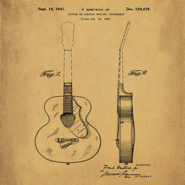 Photograph - Gretsch Guitar 1941 Patent In Sepia by Bill Cannon