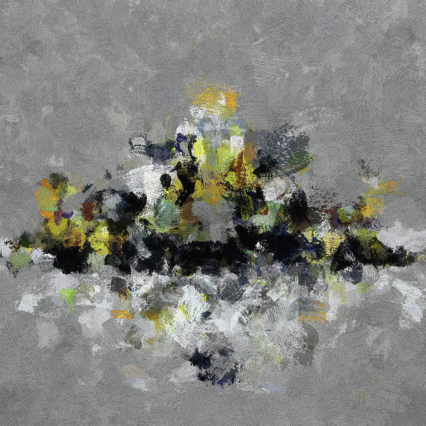 Painting - Grey And Yellow Abstract Cityscape Art by Inspirowl Design