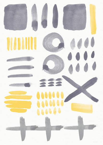 Yellow Sun Painting - Grey And Yellow Shapes- Abstract Painting by Linda Woods