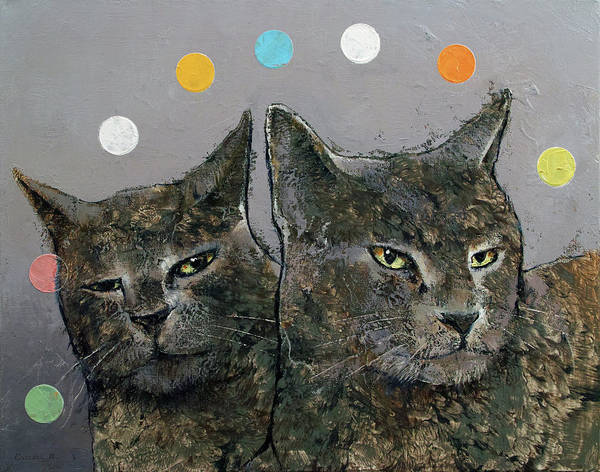 Wall Art - Painting - Grey Cats by Michael Creese