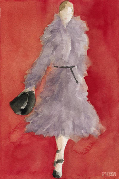 Painting - Grey Coat - Watercolor Fashion Illustration by Beverly Brown