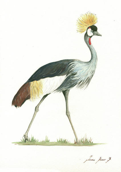 Wall Art - Painting - Grey Crowned Crane by Juan Bosco
