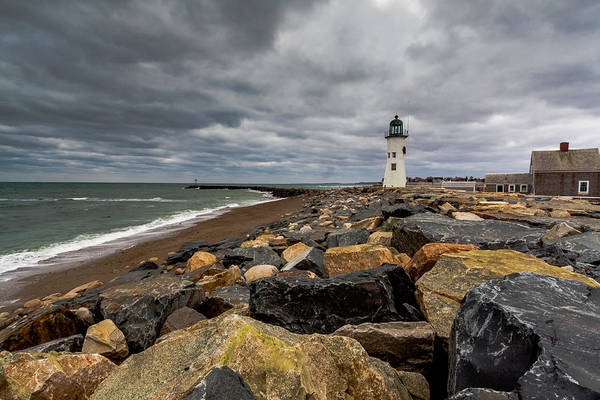 Photograph - Grey Day At Scituate Lighthouse by Brian MacLean