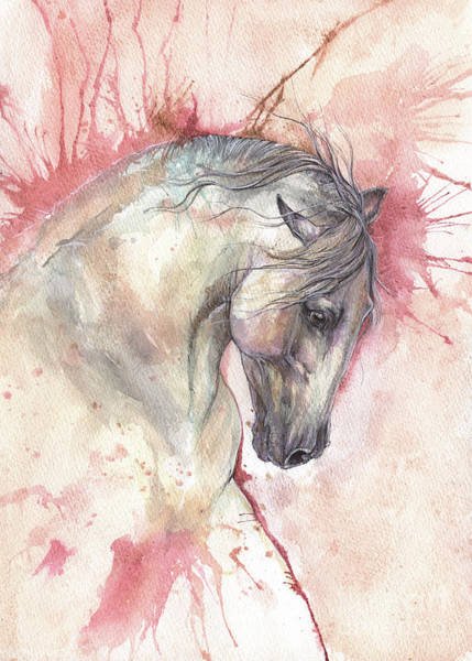 Andalusian Stallion Wall Art - Painting - Grey Horse On Red Background by Angel Ciesniarska