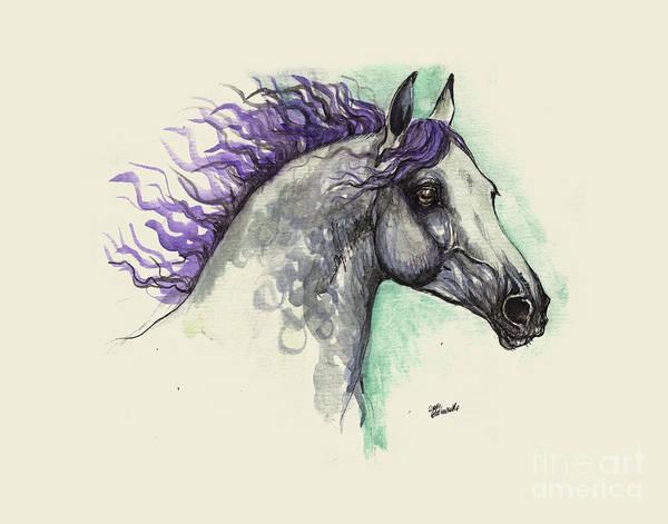 Wall Art - Painting - Grey Horse With Blue Mane by Angel Ciesniarska
