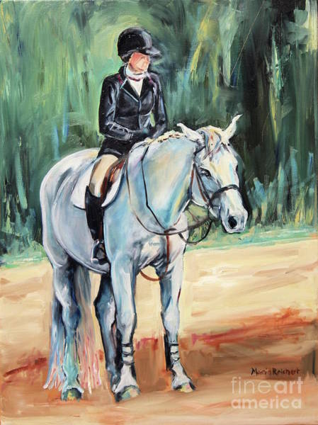 Aqha Painting - Grey Hunt Seat Horse by Maria's Watercolor